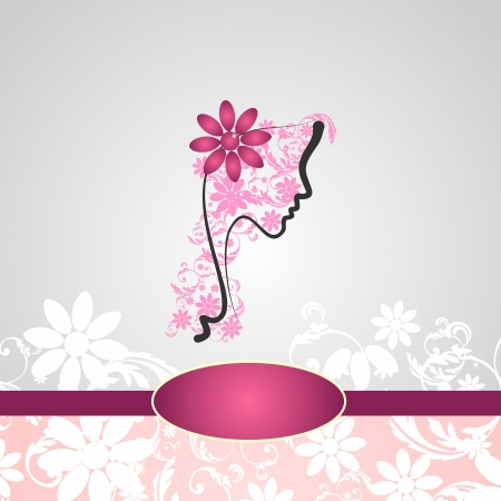 Background with woman s profile with floral decorations Vector