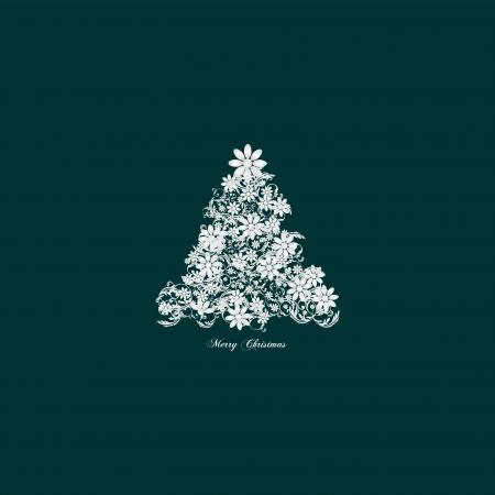 Elegant christmas tree floral - vintage Stock Vector - 16826893
