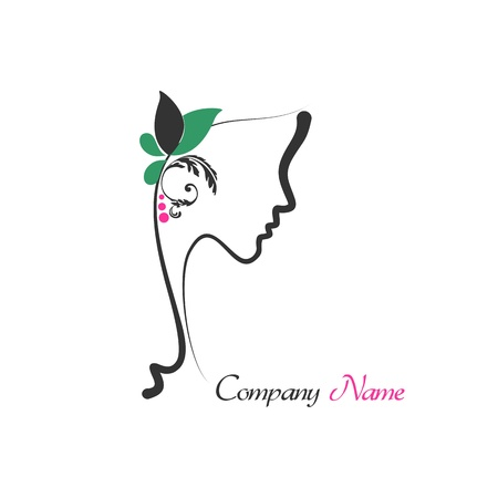 Logo of perfect profile of a woman with rose hair Vector