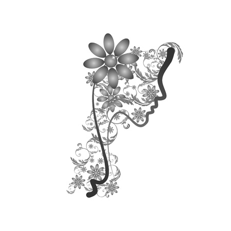 Perfect profile of a Woman with Floral - shades of gray Vector