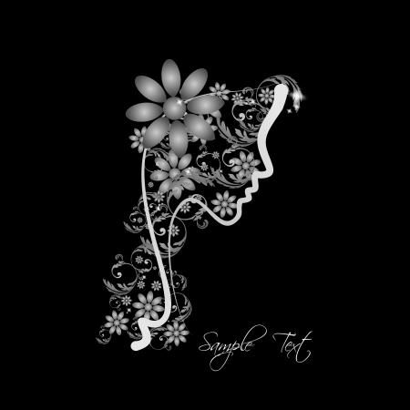 peluquerias: Perfil perfecto de una mujer con flores - tonos de gris