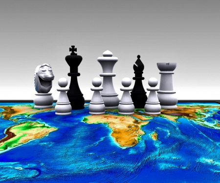 Chess on the world - 3D photo