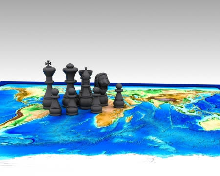 Chess on the world - 3D Stock Photo - 16974541