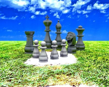 Chess on a path outdoors - 3D photo