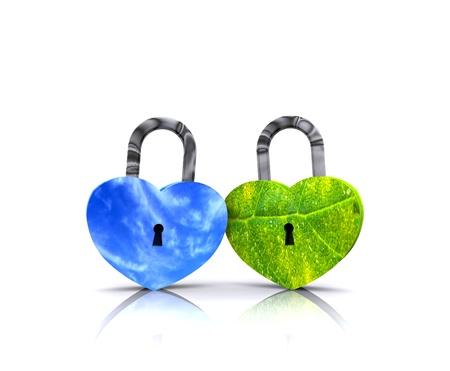 Pair of heart-shaped padlocks - 3D Stock Photo - 17131620
