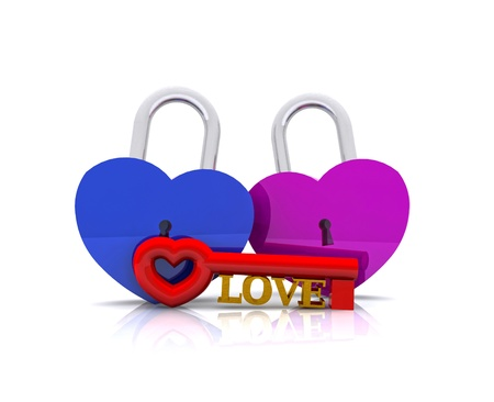 Pair of heart-shaped padlocks - 3D photo