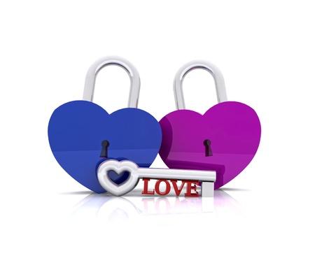 Pair of heart-shaped padlocks - 3D photo