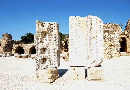 Carthage - the remains of ancient friezes carved  photo