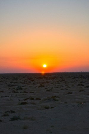 Sunset over Sahara desert - Tunisia, africa photo