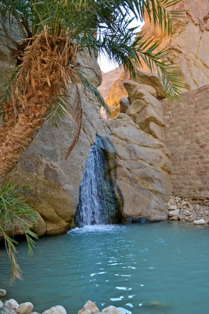 sahara desert: Natural waterfall of Oasis of Nefta, Chebika - Tunisia Stock Photo