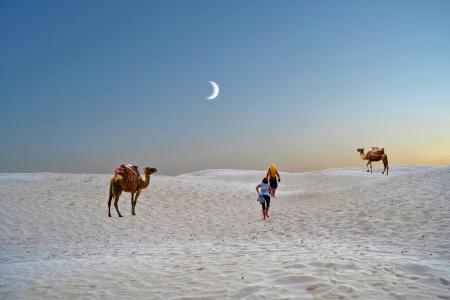 Walk on the sand dunes of the Sahara - Tunisia, Africa photo