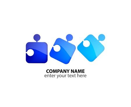 eg: Logo with colorful puzzles Illustration
