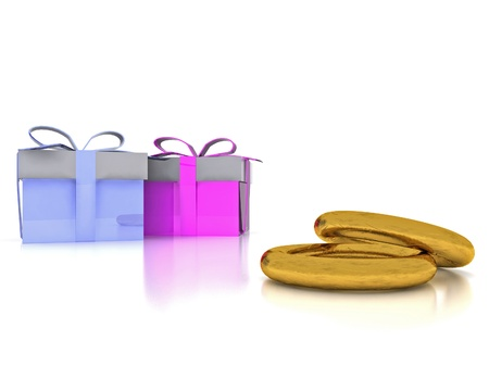 Wedding rings in gold and gift box - 3D Stock Photo - 17773557