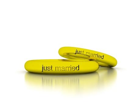 recien casados: 3D Anillos de boda - Just Married