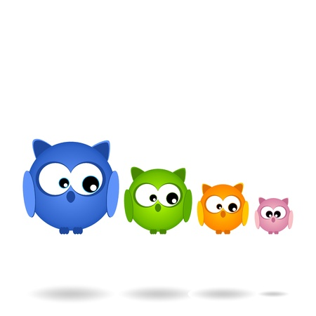 Nice family of Owls    in flight Vector
