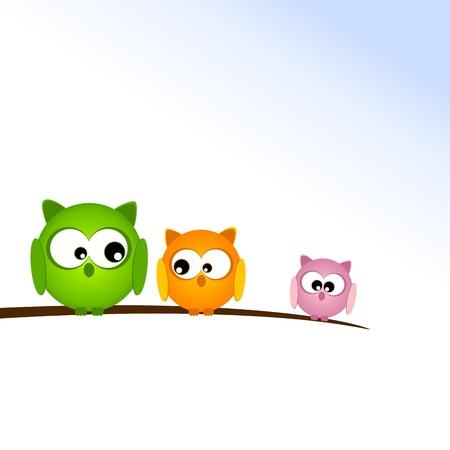 think big: Illustration with Owls Illustration