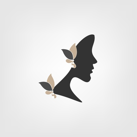 Logo - Profile of woman with stylized flowers Vector