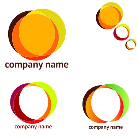 Set of abstract logos of different colors Vector