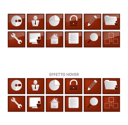 Web icons with hover effect Vector