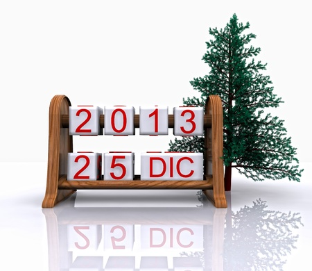 Date - December 25, Christmas Day, 3D  photo