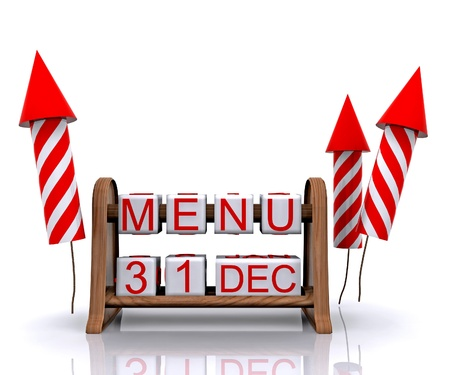 new year s eve: New Year s Eve Menu - 3D