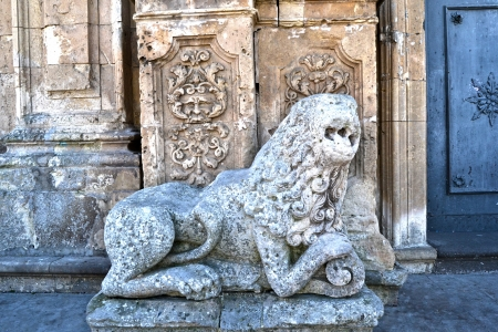 region sicilian: Detail - stone sculpture, Cathedral of Palazzolo Acreide