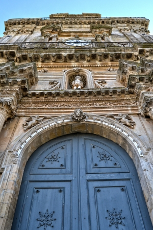 region sicilian: Detail - door of the Cathedral of Palazzolo Acreide, Syracuse Stock Photo