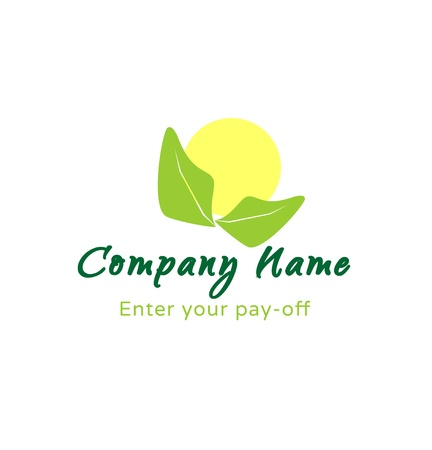 Logo - sun with green leaves Vector