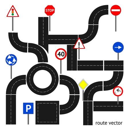 panneaux danger: Chemin avec les panneaux de signalisation