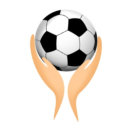 Soccer ball in his hands Vector