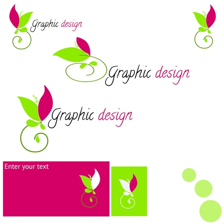 Set logo with stylized Flower and variations of colors Vector