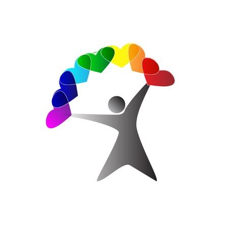 Profil de l'homme avec les coeurs colorés