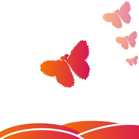 Butterfly with hearts Vector