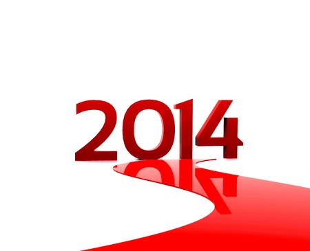 entry numbers: 3D illustration - Here comes the new year     2014 Stock Photo