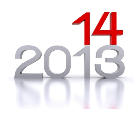Here comes the new year     2014 - 3D Stock Photo - 19314798