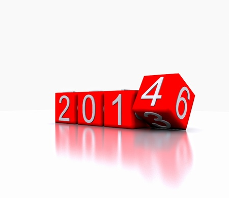 3D illustration - Dice with the new year, 2014 Stock Illustration - 19314799