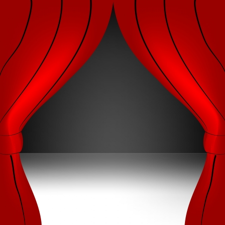 Red curtain open Stock Vector - 19490090
