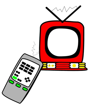 Television and remote control Vector