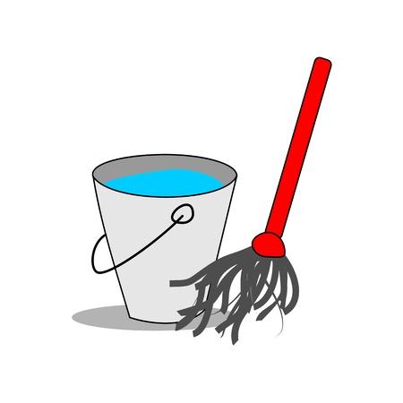 bucket water: La cubeta de agua con la fregona Vectores