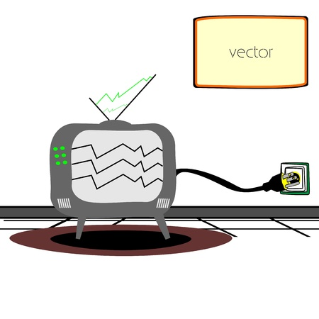 Inside room - Wall with TV and electric cable Vector