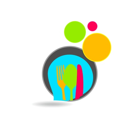 food groups: Colored circles with kitchen cutlery