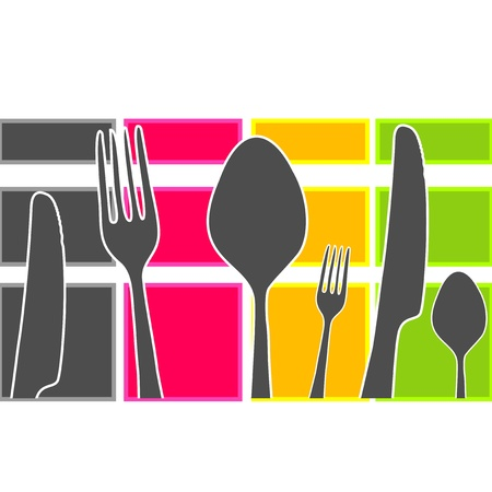 Colored band with kitchen cutlery Vector
