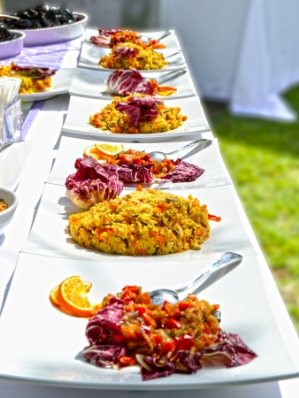 deliciously: Banquet with deliciously prepared dishes Stock Photo