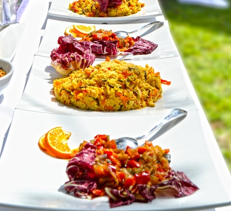 Banquet with deliciously prepared dishes Banque d'images