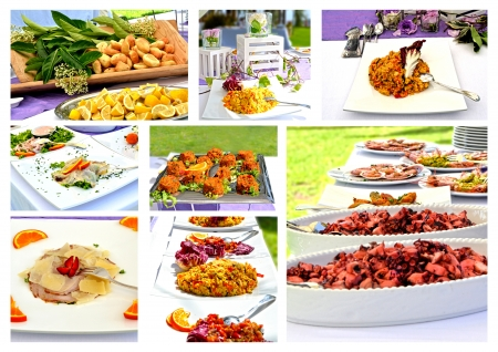 Collage Menu - rich banquet with several courses of appetizers photo