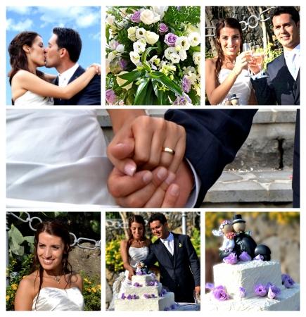 결혼식: 콜라주 - 결혼식의 최고의 순간 스톡 콘텐츠