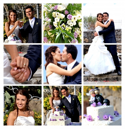 wedding flower: Collage - the best moments of the wedding Stock Photo
