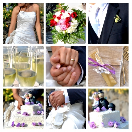 wedding favors: Collage - the best moments of the wedding Stock Photo