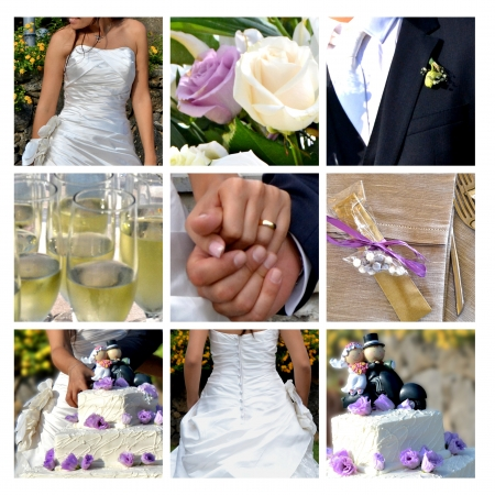 Collage - the best moments of the wedding Foto de archivo