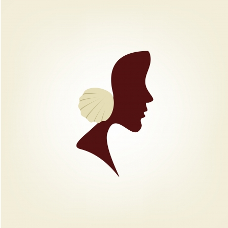 Stylized profile of a woman with seashell Vector